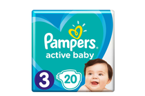 Бебешки пелени » Пелени Pampers Active Baby Midi, 20-Pack