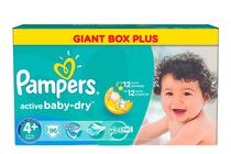 Бебешки пелени » Пелени Pampers Active Baby Dry Maxi Plus, 96-Pack