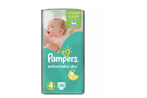 Бебешки пелени » Пелени Pampers Active Baby Maxi, 58-Pack
